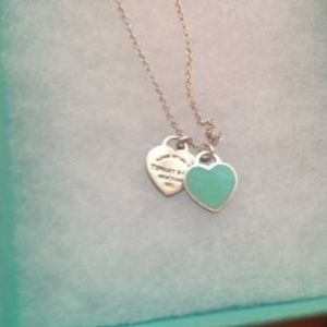 Tiffany and Co Double Hearts Blue Enamel Necklace